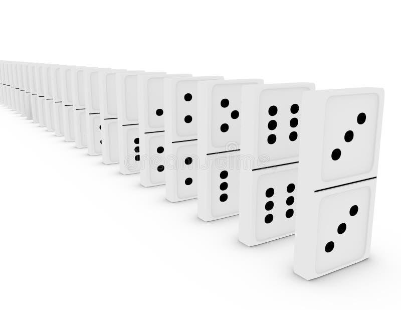 3d framför av en Set av domino i en linje royaltyfri illustrationer