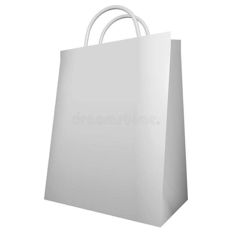 3d framför av en vit shoppingpåse vektor illustrationer