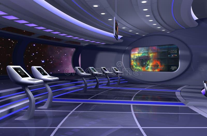 3d framför spaceshipen royaltyfri illustrationer