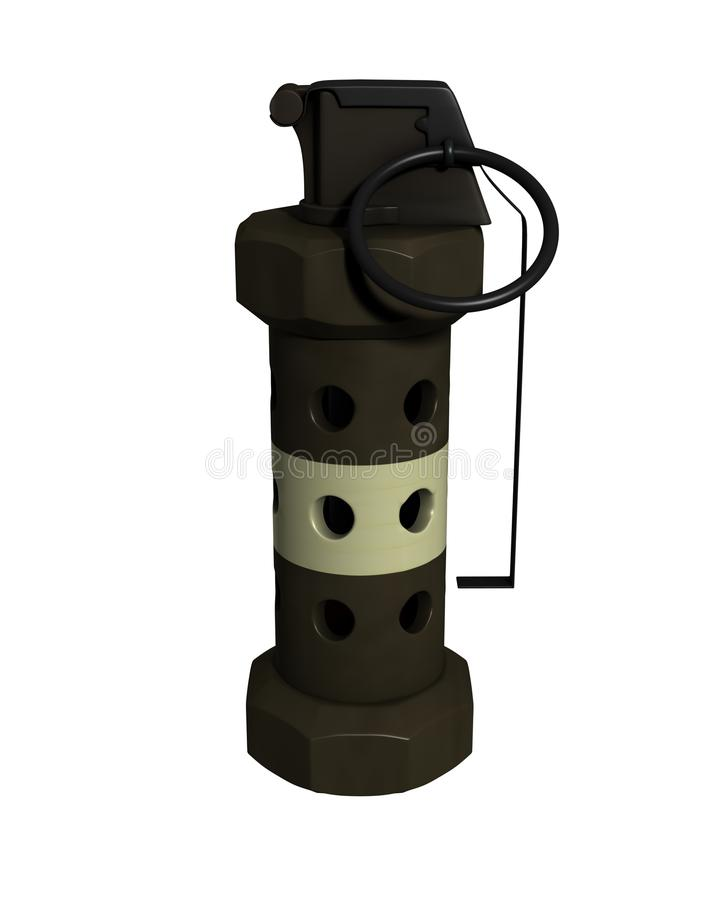 3d framförd flashbang granat isolerad m84 stock illustrationer