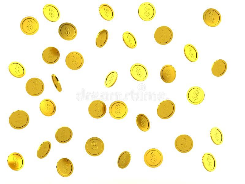 3d framförda stannande guld- mynt royaltyfri illustrationer