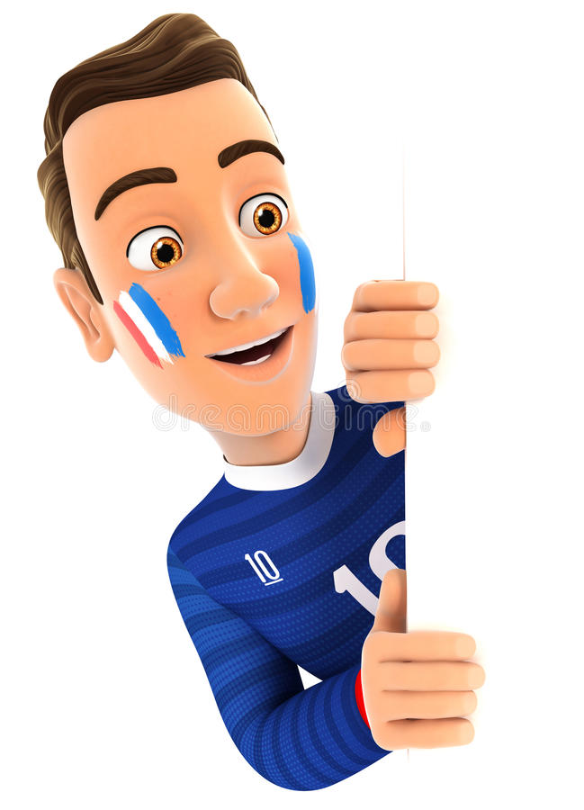 Free 3d French Soccer Fan Peeping Over Blank Wall Stock Image - 85354521