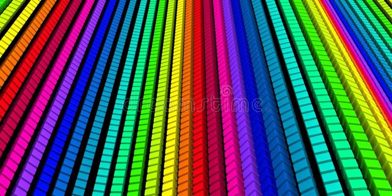 3D fundo - onda colorida 01 do cubo ilustração do vetor
