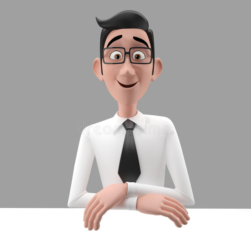 Free 3d Funny Character, Cartoon Sympathetic Looking Business Man Stock Photography - 47992332