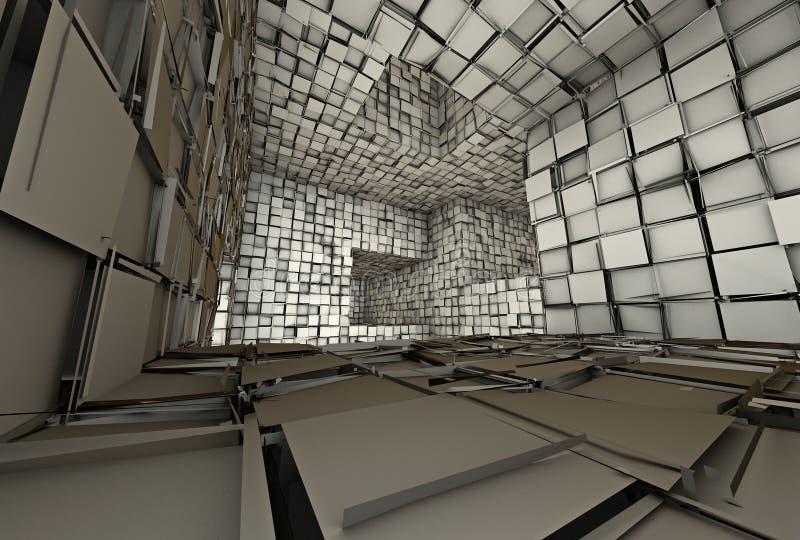 3d futuristic tiled mosaic labyrinth interior stock illustration