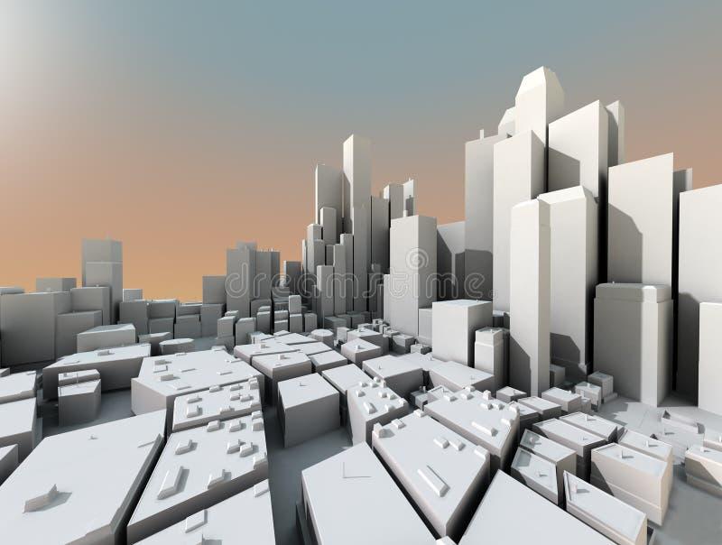 3d futuristische stad stock illustratie