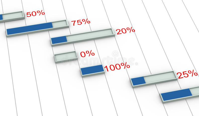 3d gantt chart percentage progress royalty free illustration