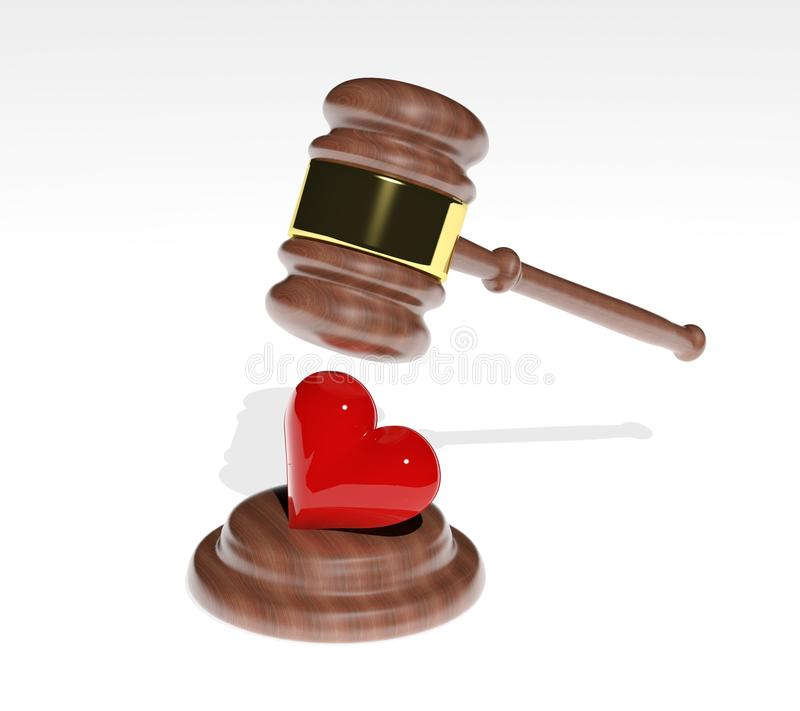 3d Gavel And Red Heart Royalty Free Stock Photo