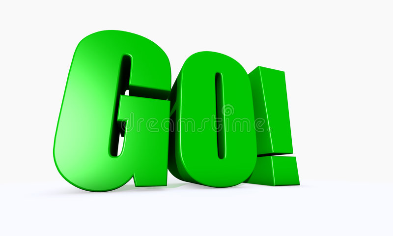 3D geïllustreerder woord GAAT! stock afbeeldingen
