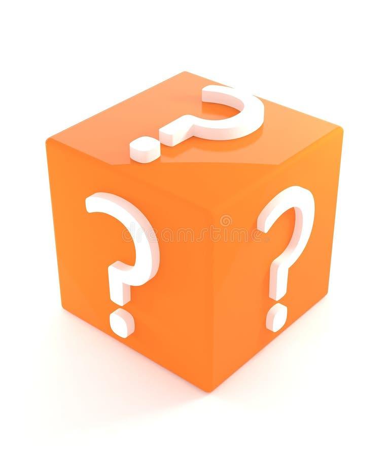 3d Geïsoleerdem Oranje Doos van de Vraag vector illustratie
