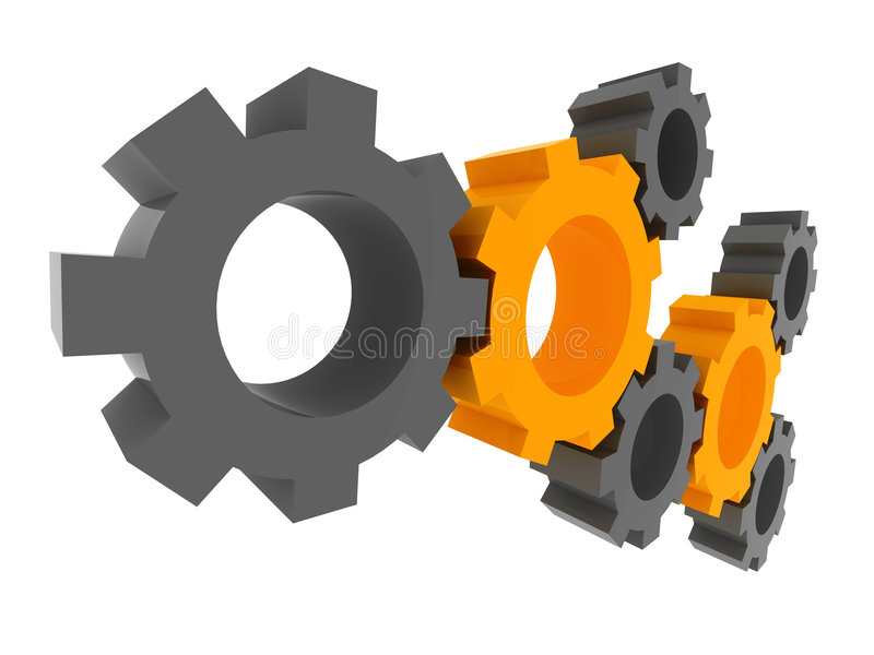 3D gears. Solution concept. 3d gears rendering. Isolated on white background with clipping path. Solution, teamwork, technology...concepts royalty free illustration