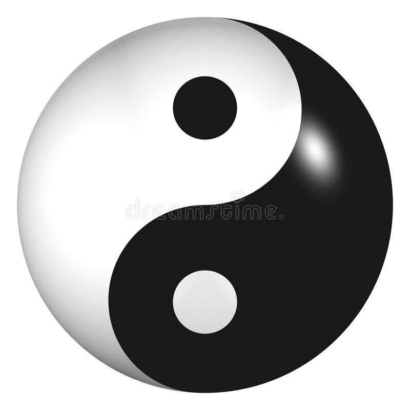 3d Gebied van Yin Yang royalty-vrije illustratie