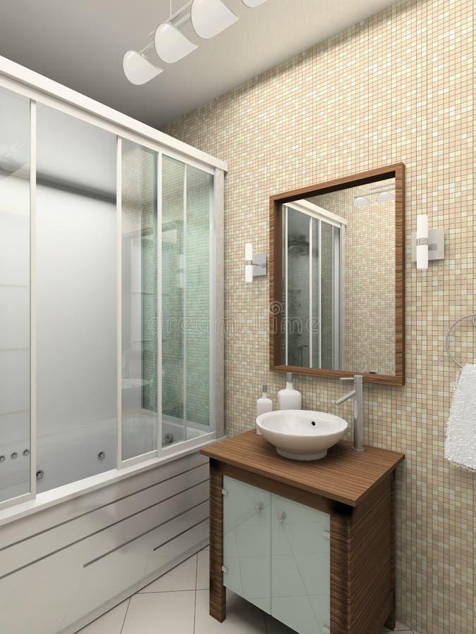 3D geef modern binnenland van badkamers terug royalty-vrije illustratie