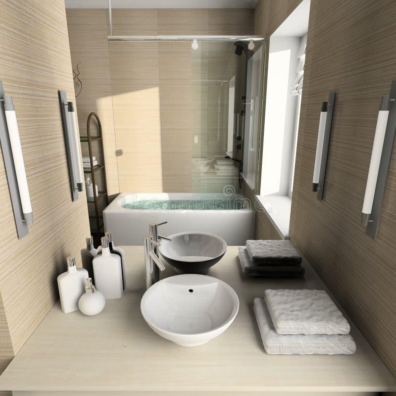 3D geef modern binnenland van badkamers terug vector illustratie