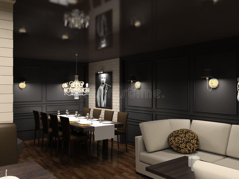 3D geef modern binnenland van eetkamer terug vector illustratie