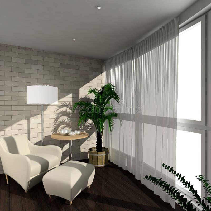 3D geef modern binnenland van veranda terug vector illustratie