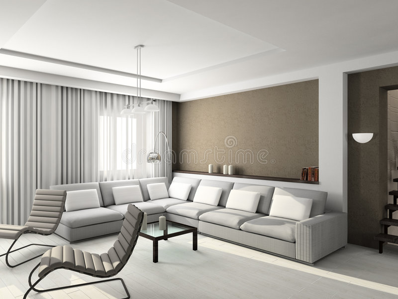 3D geef modern binnenland van woonkamer terug stock foto