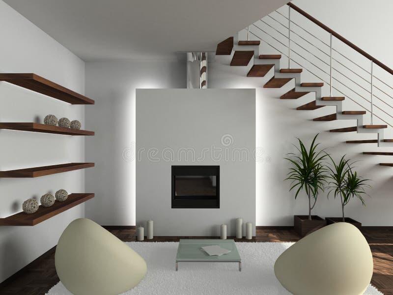 3D geef modern binnenland van woonkamer terug vector illustratie