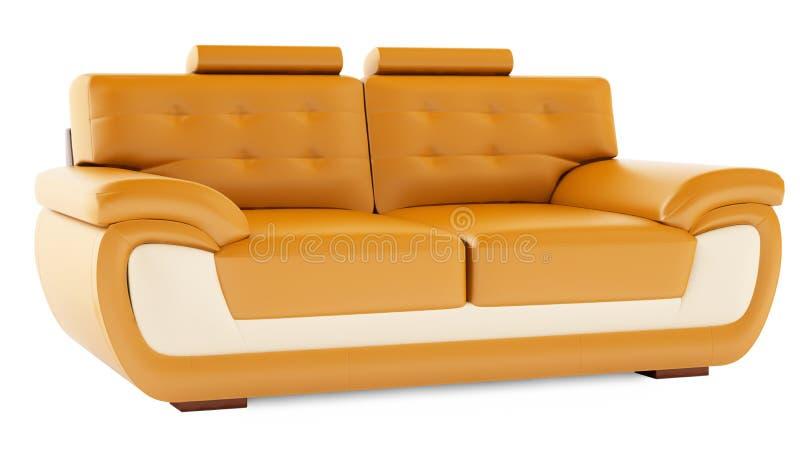 3D geef oranje bank op een witte achtergrond terug stock fotografie