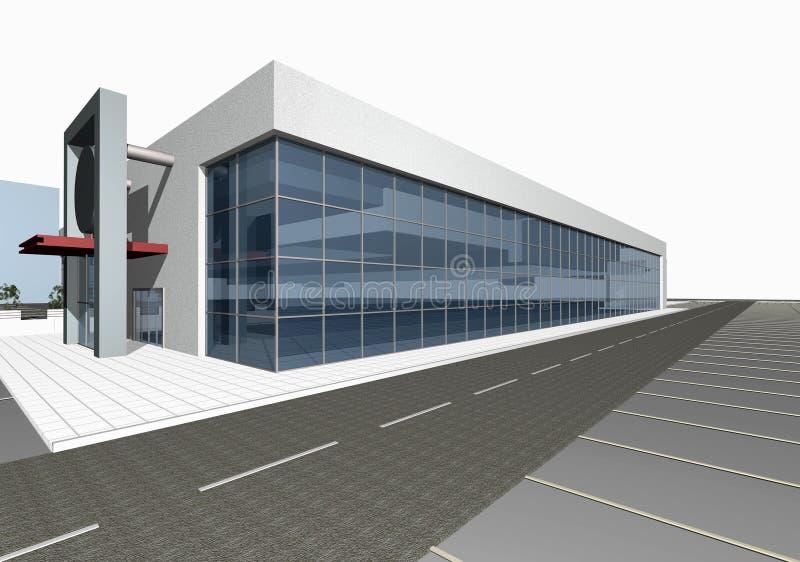 3D geef van de moderne bouw terug stock illustratie