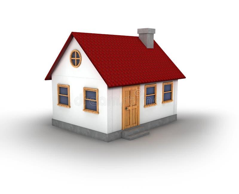 3D geef van een huis terug royalty-vrije illustratie