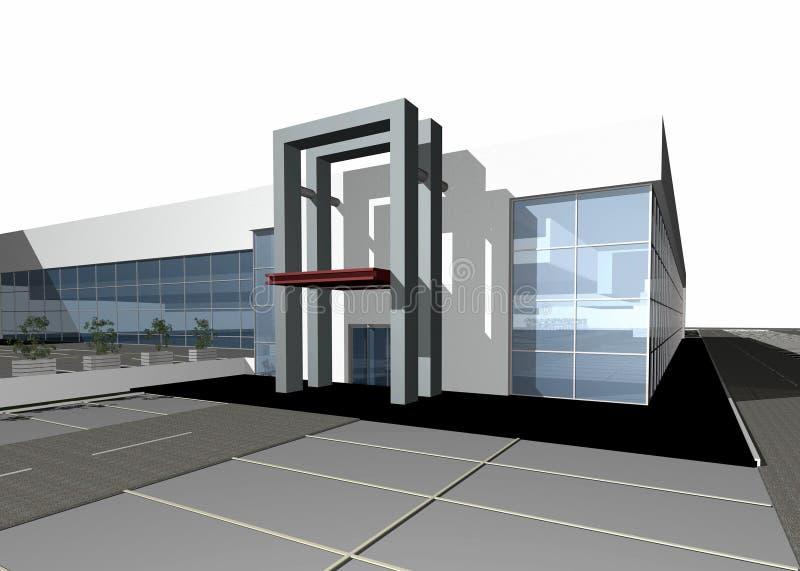 3D geef van een modern gebouw terug vector illustratie