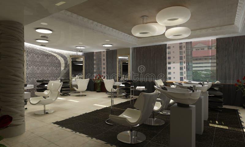 3d geef van een modern ontwerp interior.exclusive terug royalty-vrije illustratie