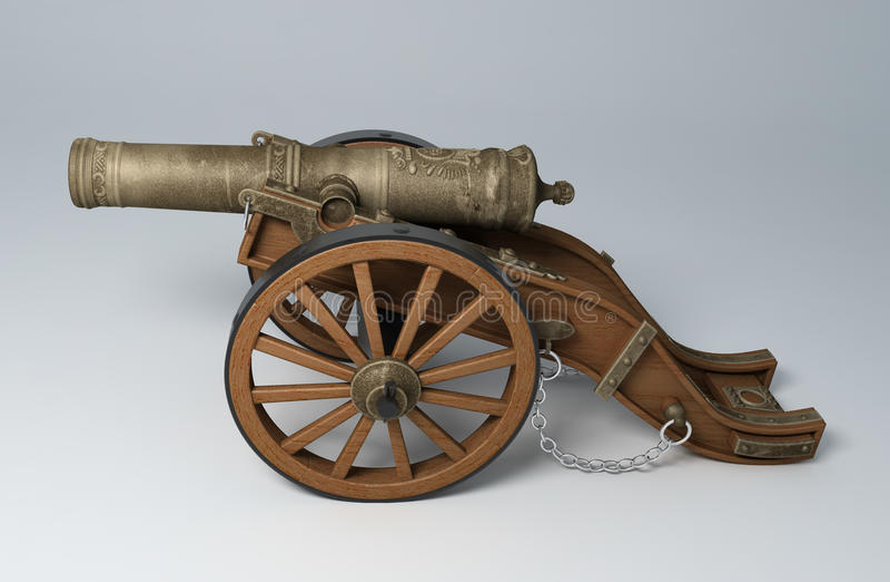 3D geef van een oud kanon terug vector illustratie