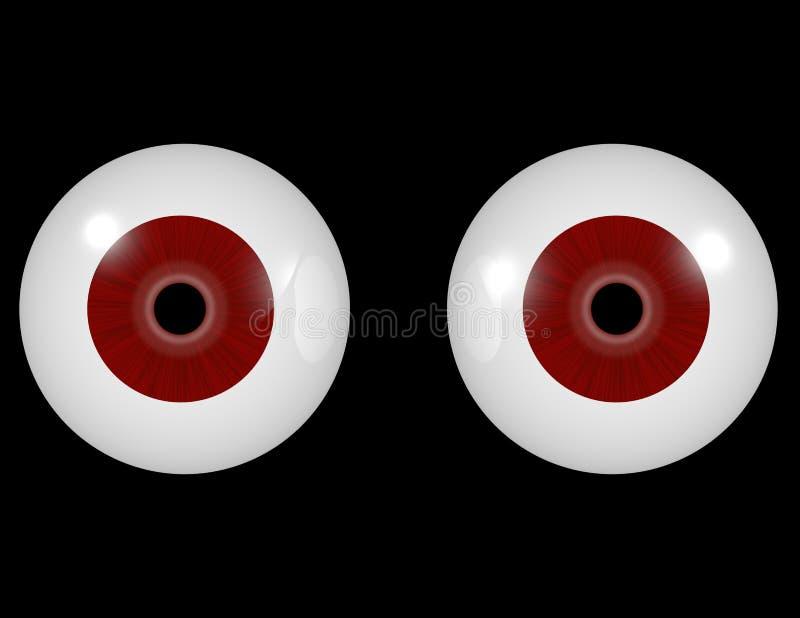 3d geef van een Paar Rode Ogen terug vector illustratie