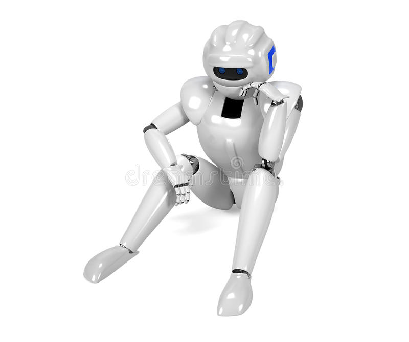 3D geef van gedeprimeerde androïde terug stock illustratie