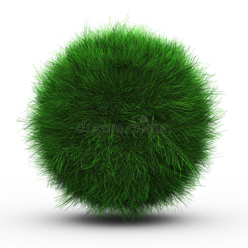3d geef van groene grasbal terug royalty-vrije illustratie