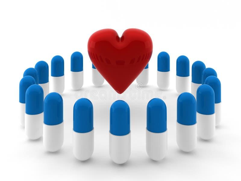 3d geef van hart binnen cirkel van pillen terug vector illustratie