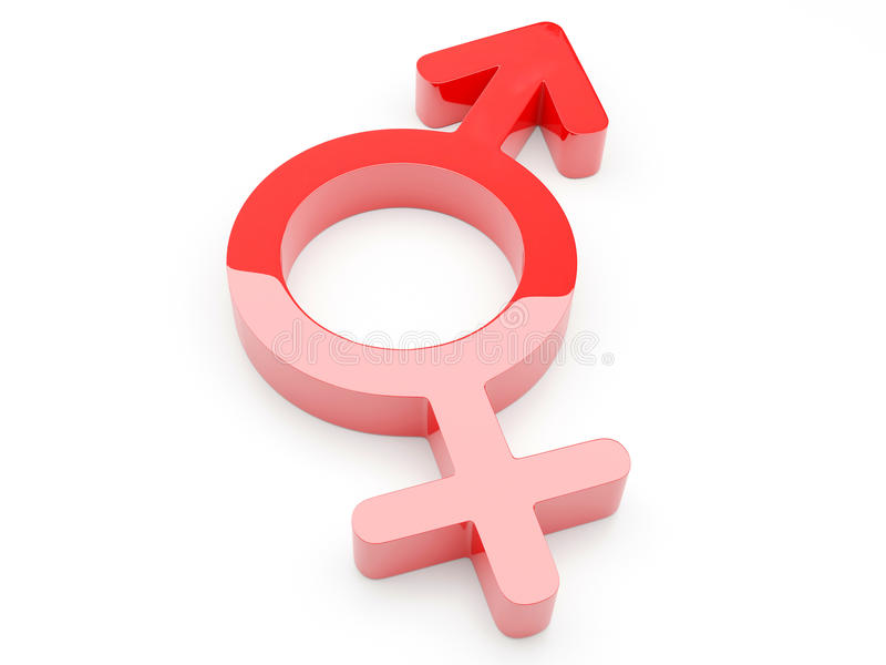 3d geef van Mannelijk Vrouwelijk Symbool terug stock illustratie
