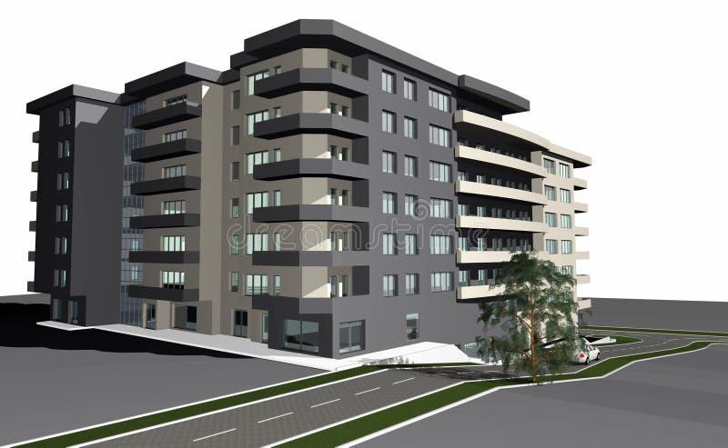 3D geef van moderne woningbouw terug royalty-vrije illustratie