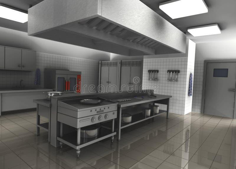 3d geef van professionele restaurantkeuken interterug stock illustratie