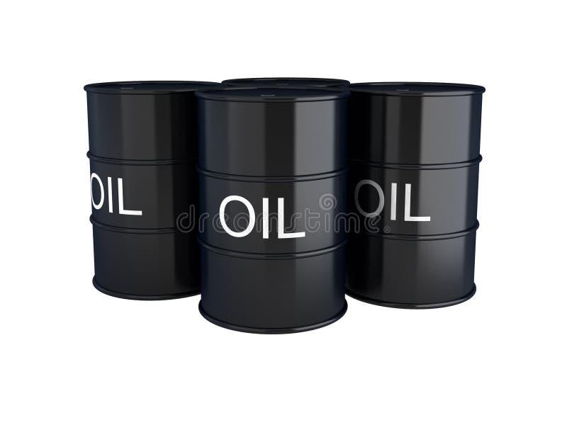 3d geef van zwarte olievaten op wit terug royalty-vrije illustratie