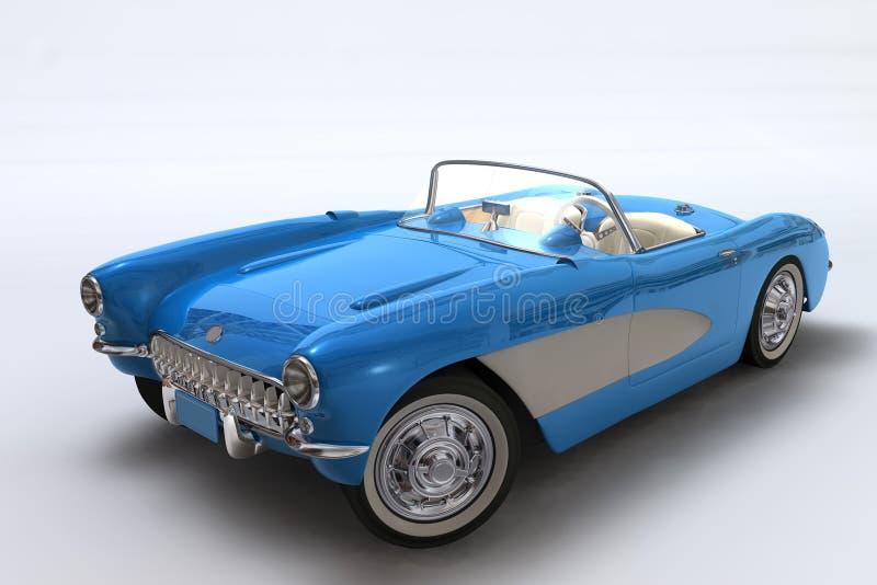 3D geeft van een Chevrolet Korvet 1957 terug stock illustratie