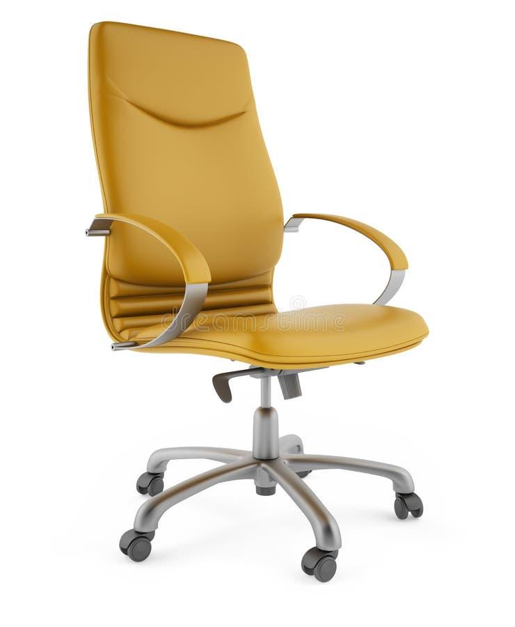 3D gele stoel op een witte achtergrond stock afbeelding