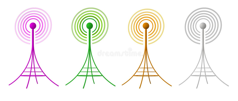 3D generated radio antennas isolated on white stock illustration