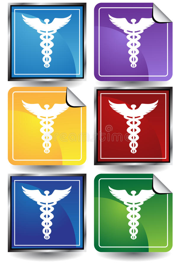 3D Geplaatste Sticker - Caduceus vector illustratie
