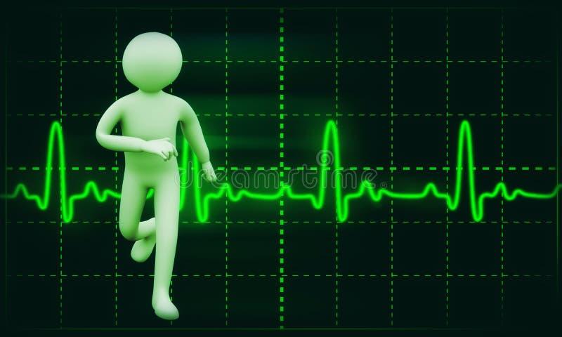 3d gezonde persoons ecg achtergrond stock illustratie