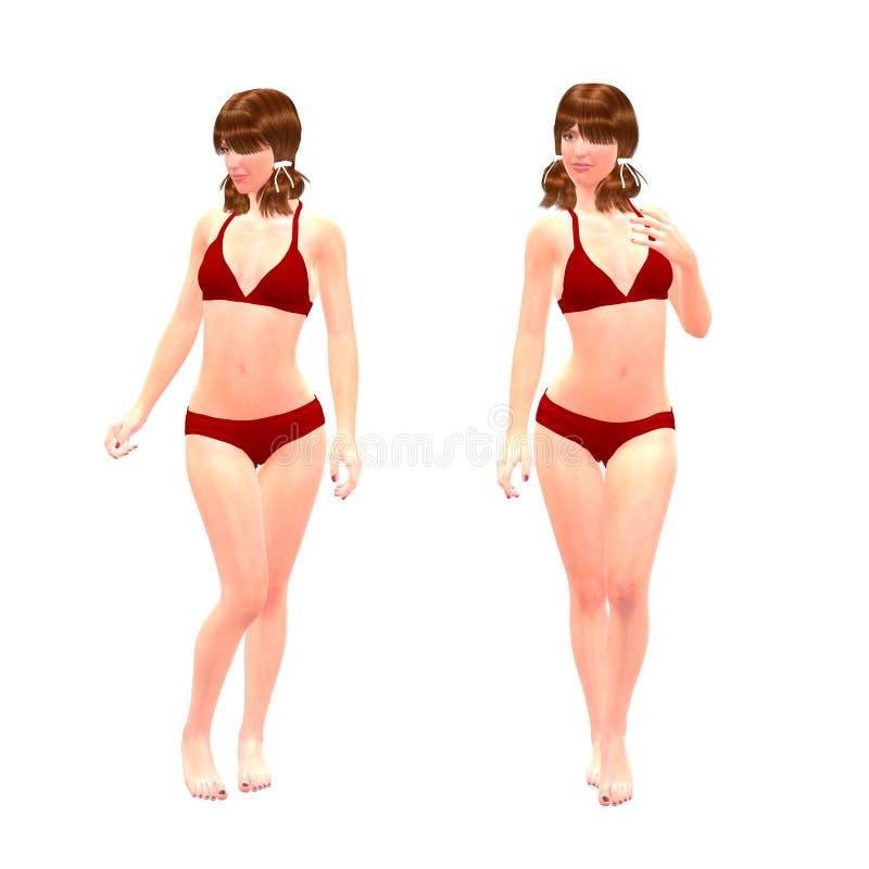 3d Girl In Red Bikini Stock Photo