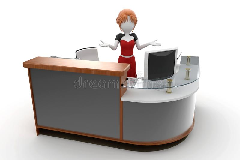 3d girl working at the help desk royalty free illustration