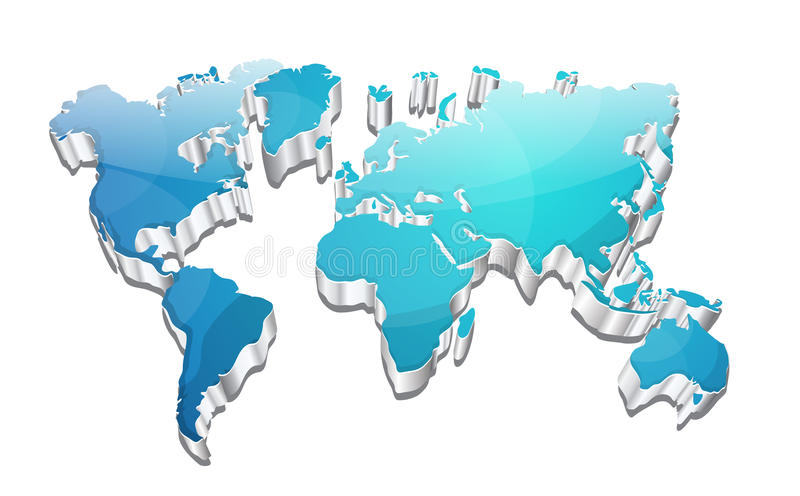 3d Glanzende VectorKaart van de Aarde van de Wereld vector illustratie