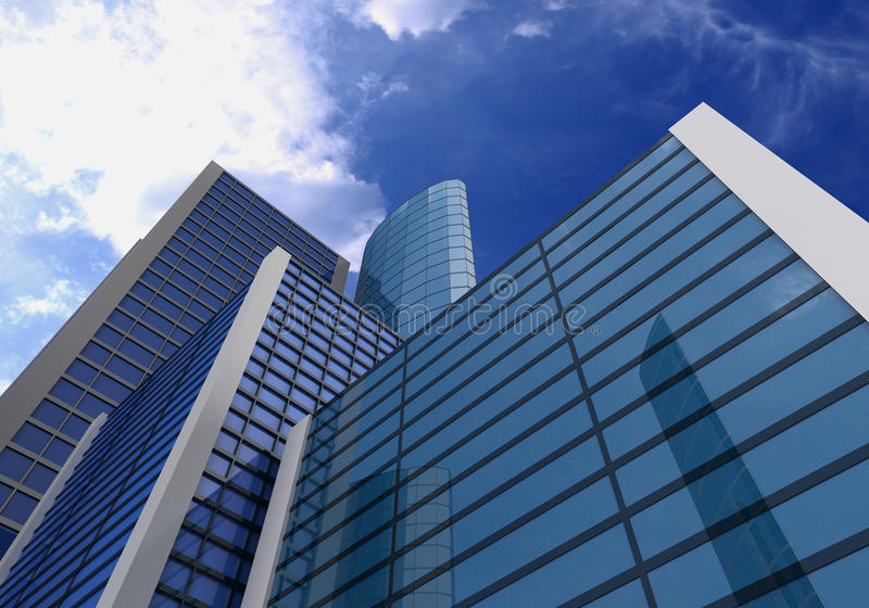 Download 3d, Glass Buildings With The Sky And Clouds Stock Illustration - Image: 15622174