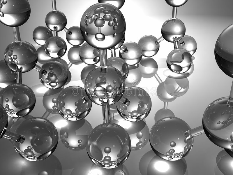 3D glass molecules stock illustration