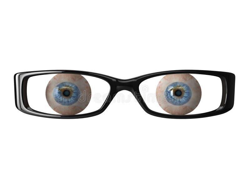 3d Glasses. High quality illustration of detailed eyeballs behind a pair of glasses stock illustration