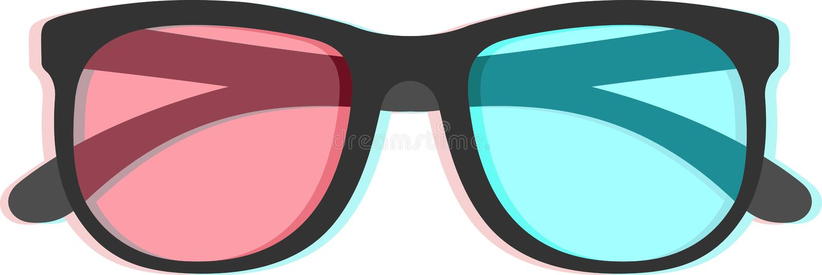 3d Glasses With Chromatic Aberration Royalty Free Stock Image
