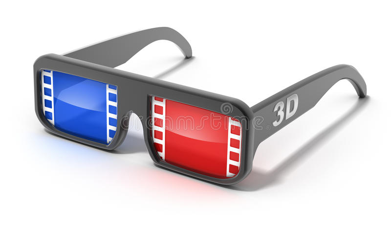 3D glasses with film concept stock illustration