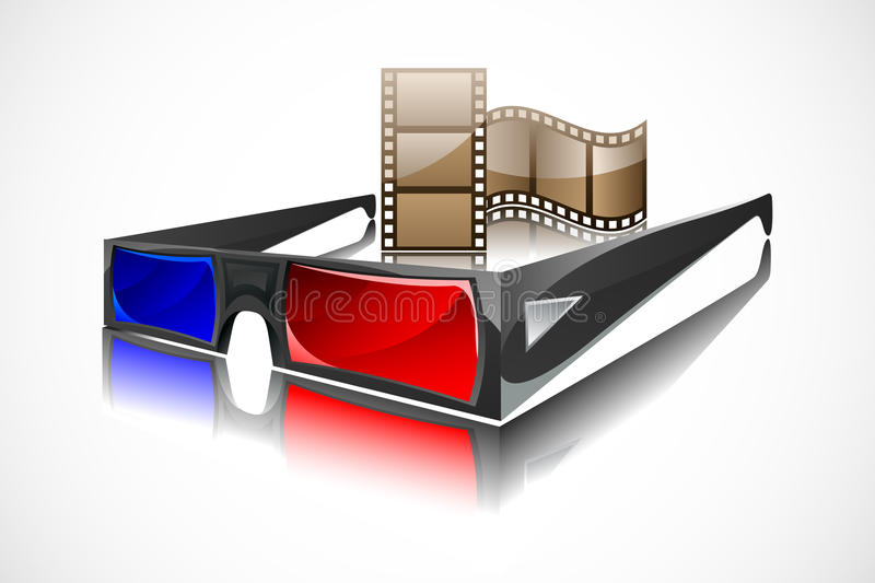 3d Glasses with Film Reel. Easy to edit illustration of 3d glasses with film reel vector illustration